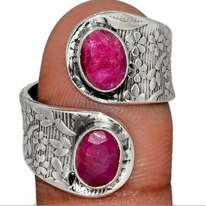 Genuine Ruby adjustable sterling silver ring